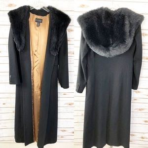 Express Wool Coat with faux fur hood long length